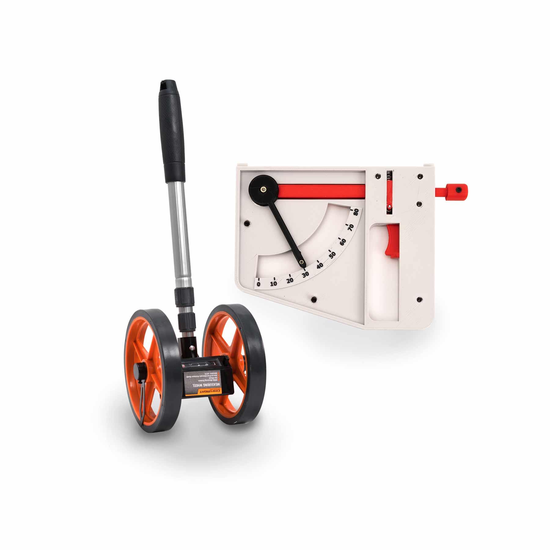 Measuring wheel clinometer angle tracker